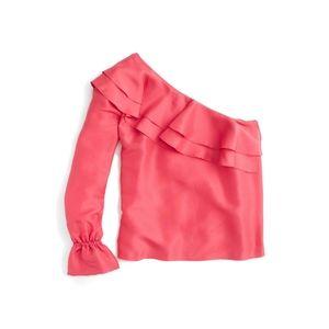 J.CREW One Shoulder Shantung Ruffle Sleeve Blouse